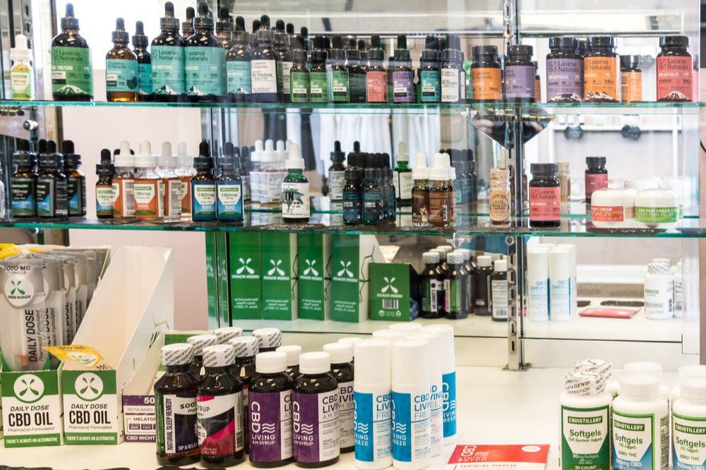 weed washing represented by many cbd products on shelves